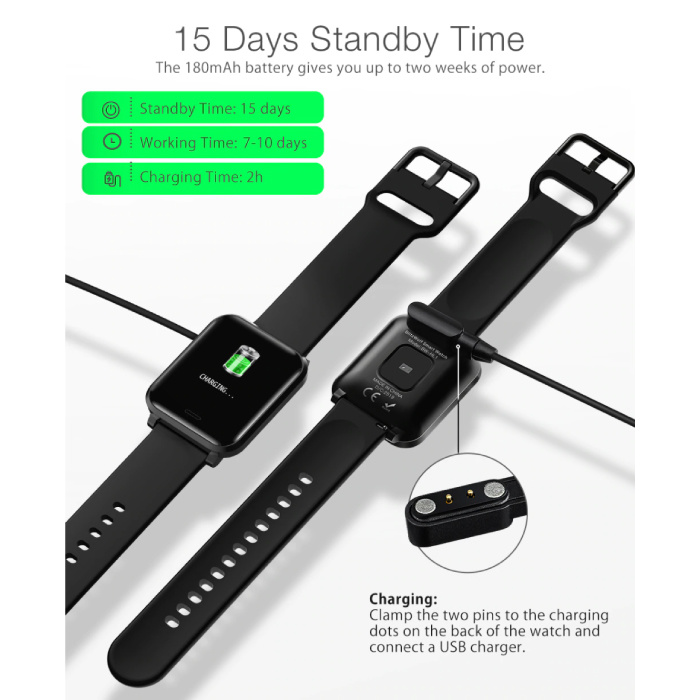 Blitzwolf BW-HL1 Smartwatch Smartband Smartphone Fitness Sport Activity Tracker Horloge IPS iOS Android iPhone Samsung Huawei Zwart