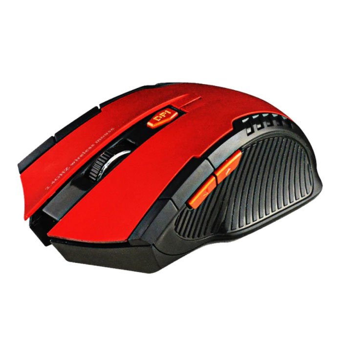 Souris de jeu sans fil optique - Ambidextre et ergonomique avec réglage DPI - 1600 DPI - 6 boutons - Rouge