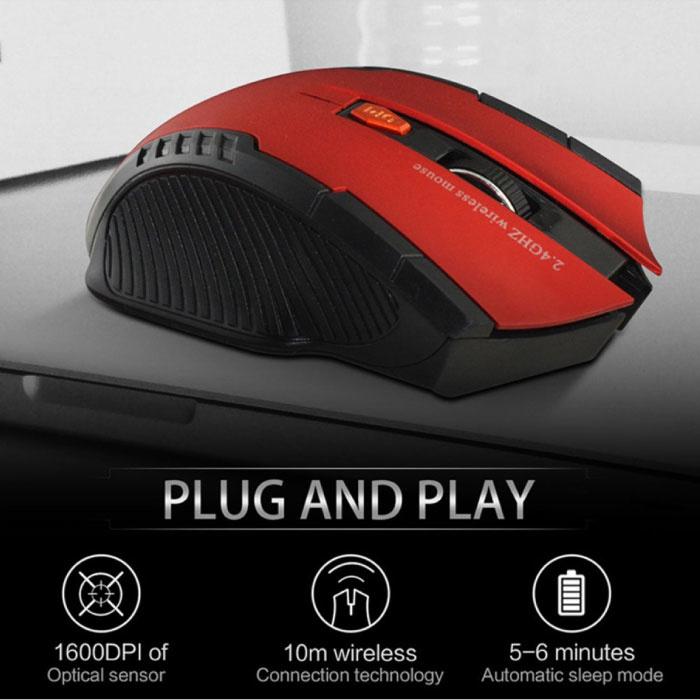 Stuff Certified® Draadloze Gaming Muis Optisch - Tweehandig en Ergonomisch met DPI Aanpassing - 1600 DPI - 6 Knoppen - Grijs