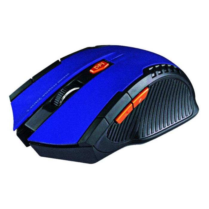 Souris de jeu sans fil optique - Ambidextre et ergonomique avec réglage DPI - 1600 DPI - 6 boutons - Bleu