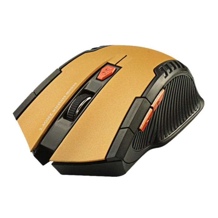 Wireless Gaming Mouse Optical - Ambidextrous and Ergonomic with DPI Adjustment - 1600 DPI - 6 Buttons - Gold