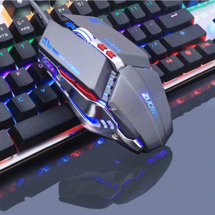 MMR5 Optische Gaming Muis Bedraad - Rechtshandig en Ergonomisch met DPI Aanpassing - 3200 DPI - 7 Knoppen - Grijs