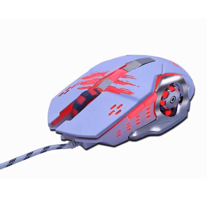 MMR4 Optical Gaming Mouse verkabelt - Rechtshänder und ergonomisch mit DPI-Einstellung - 3200 DPI - 6 Tasten - Weiß
