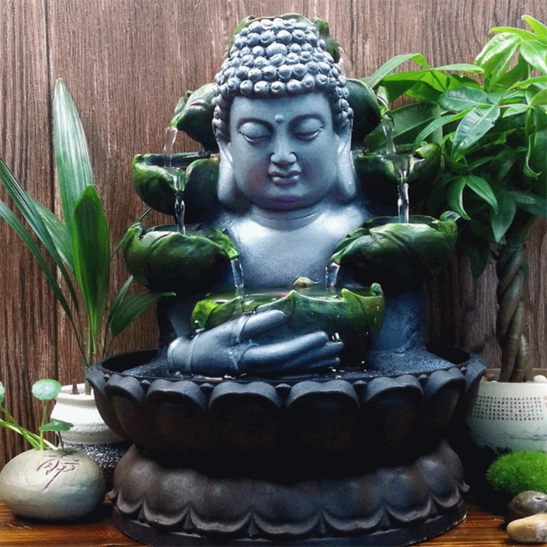 Sier Waterval Boeddha Beeld - LED Fontein Decor Feng Shui Ornament