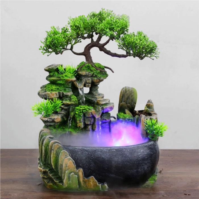 Cascade d'ornement Feng Shui avec brume LED - Ornement de décoration de fontaine LED