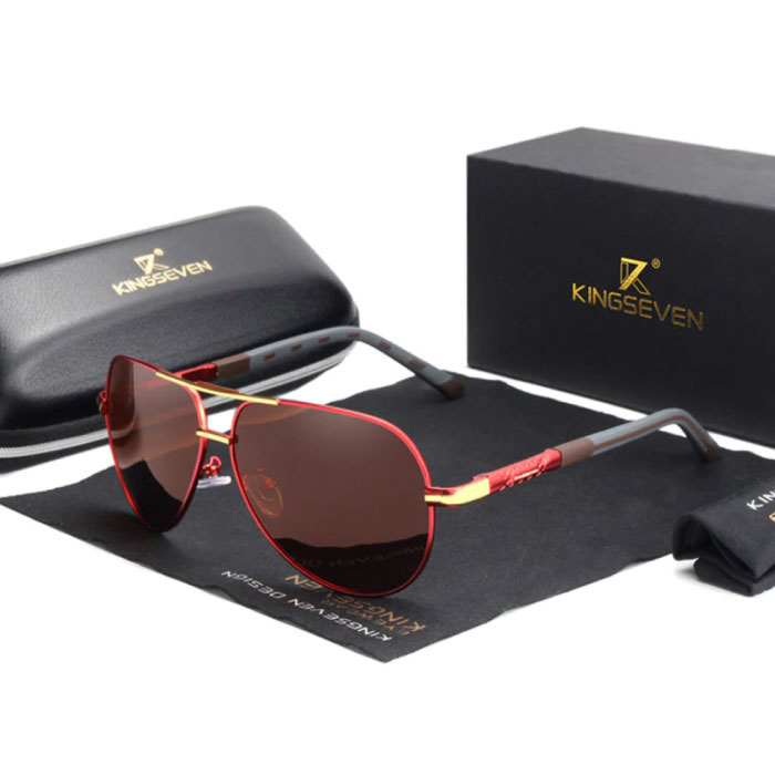 Goldstar Sunglasses - Pilot glasses with UV400 and Polarization Filter for Men and Women - Red-Brown