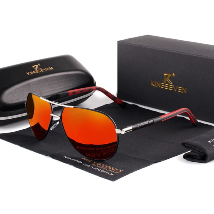 Goldstar Sunglasses - Pilot Glasses with UV400 and Polarization Filter for Men and Women - Silver-Red
