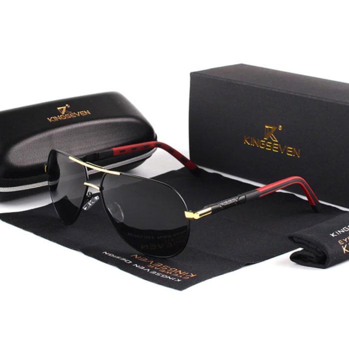Goldstar Sonnenbrille - Pilotbrille mit UV400 und Polarisationsfilter für Männer und Frauen - Gold-Schwarz