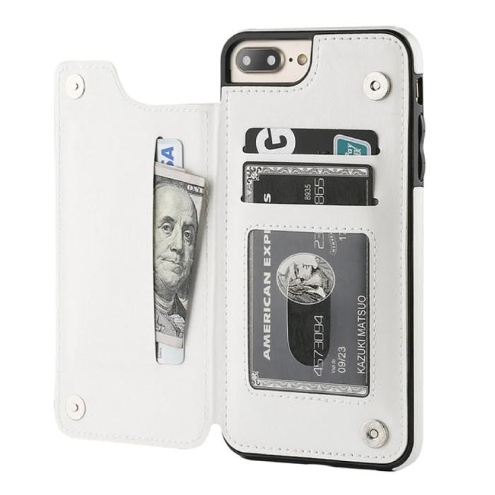 Retro iPhone 7 Plus Leather Flip Case Wallet - Wallet Cover Cas Case White