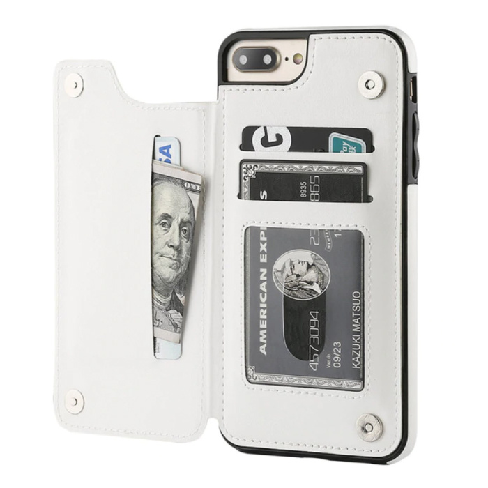 Retro iPhone 7 Leren Flip Case Portefeuille - Wallet Cover Cas Hoesje Wit