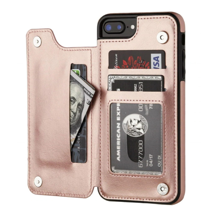 Retro iPhone 7 Plus Leren Flip Case Portefeuille - Wallet Cover Cas Hoesje Rose Gold