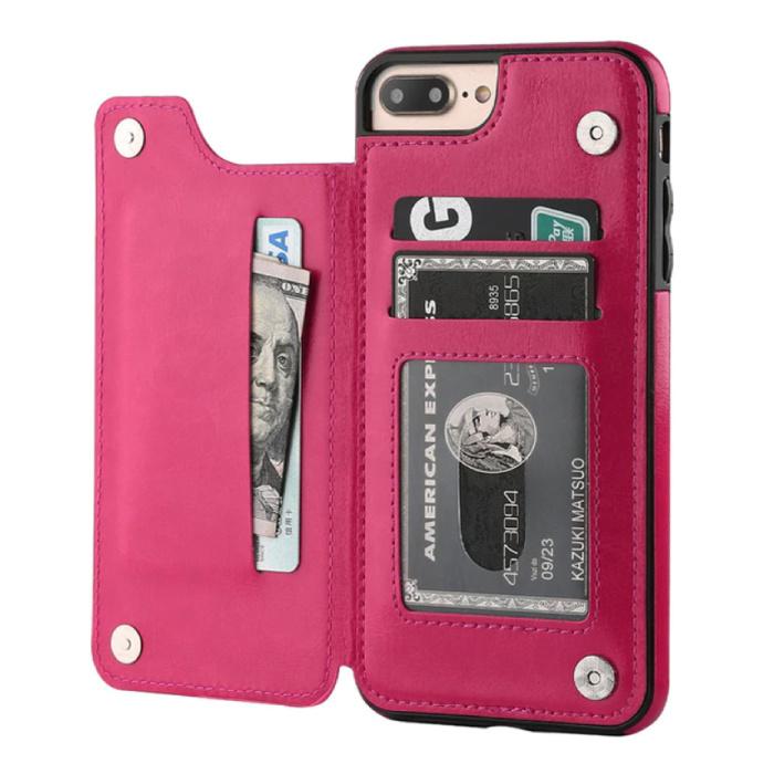 Retro iPhone 8 Plus Leren Flip Case Portefeuille - Wallet Cover Cas Hoesje Roze