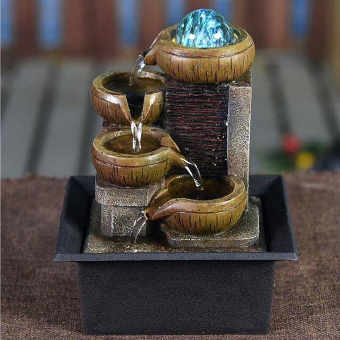 Mini Ornamental Waterfall Feng Shui - LED Fountain Decor Ornament Light Brown