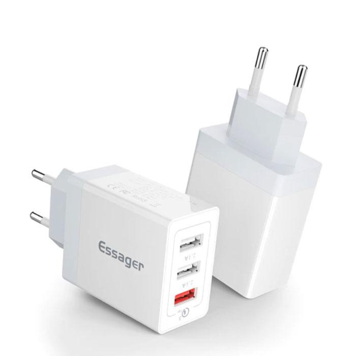 3x Port Triple USB Stecker Ladegerät 30W - Schnellladung 3.0 Wandladegerät Wandladegerät AC Home Ladegerät Adapter Weiß