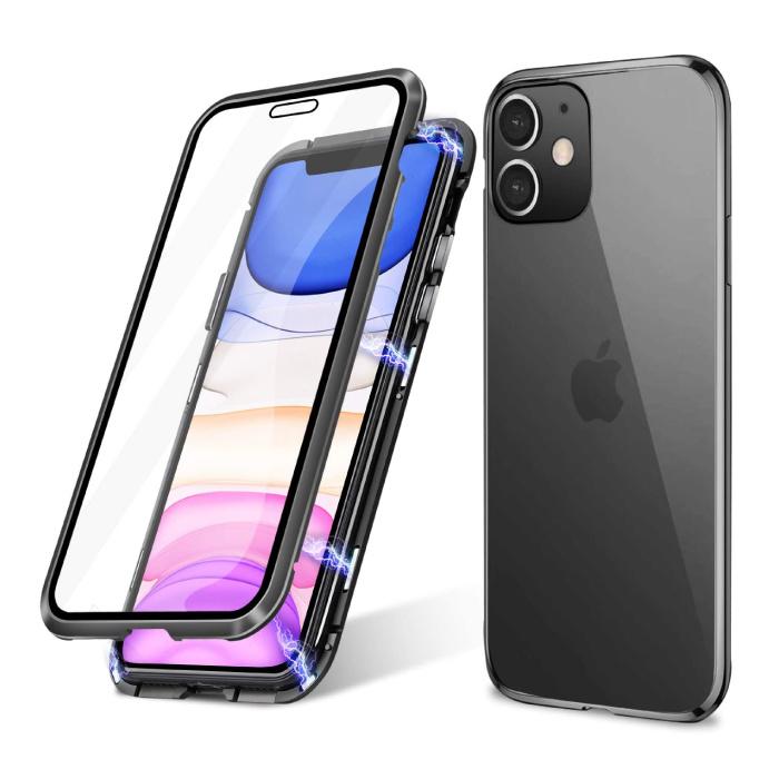 iPhone 12 Magnetisch 360° Hoesje met Tempered Glass - Full Body Cover Hoesje + Screenprotector Zwart