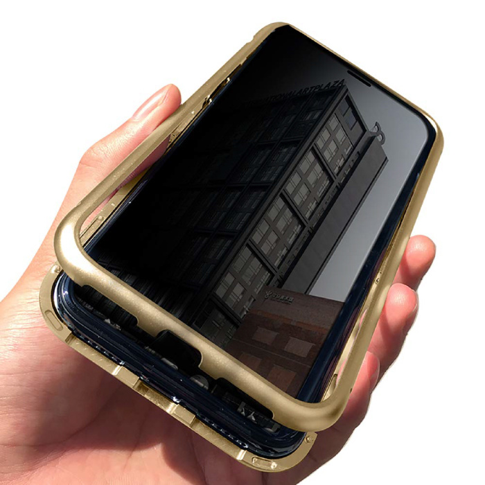 iPhone 12 Pro Max Magnetisch 360° Hoesje met Tempered Glass - Full Body Cover Hoesje + Screenprotector Goud