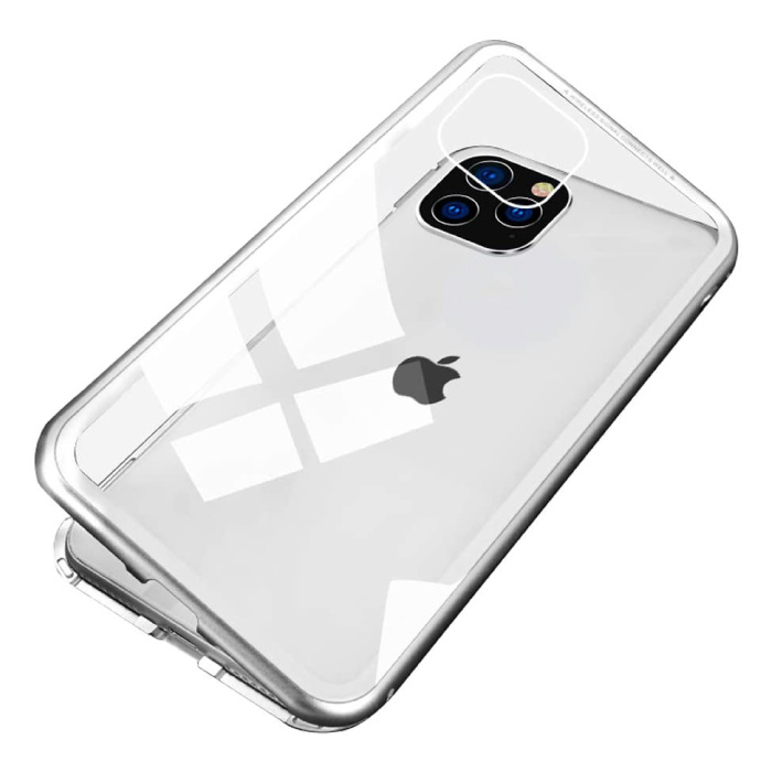 iPhone 12 Pro Magnetisch 360° Hoesje met Tempered Glass - Full Body Cover Hoesje + Screenprotector Wit