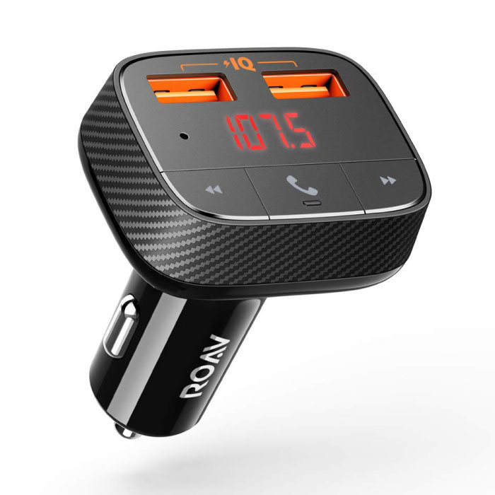 SmartCharge F0 Dual Port Car Charger with Bluetooth Transmitter - 24W Car Charger Carcharger - Black
