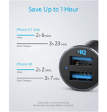 ANKER PowerDrive 2  24W Dual Port Autolader/Carcharger - Zwart
