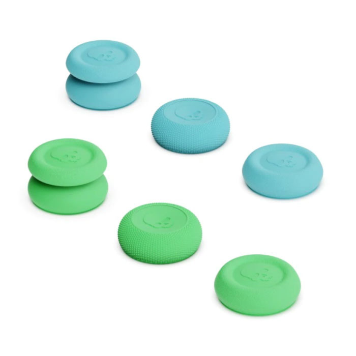 6 Thumb Grips for PlayStation 4 and 5 - Anti-Slip Controller Caps PS4 / PS5 - Green and Blue