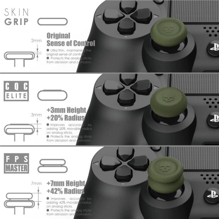 Skull & Co. 6 Thumb Grips voor PlayStation 4 en 5 - Antislip Controller Caps PS4/PS5 - Groen en Roze