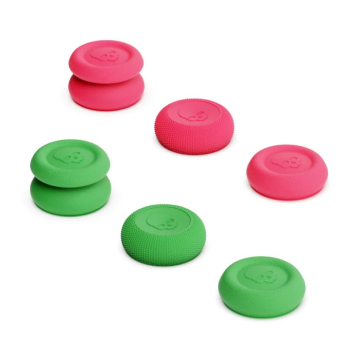 6 Thumb Grips for PlayStation 4 and 5 - Anti-Slip Controller Caps PS4 / PS5 - Green and Pink