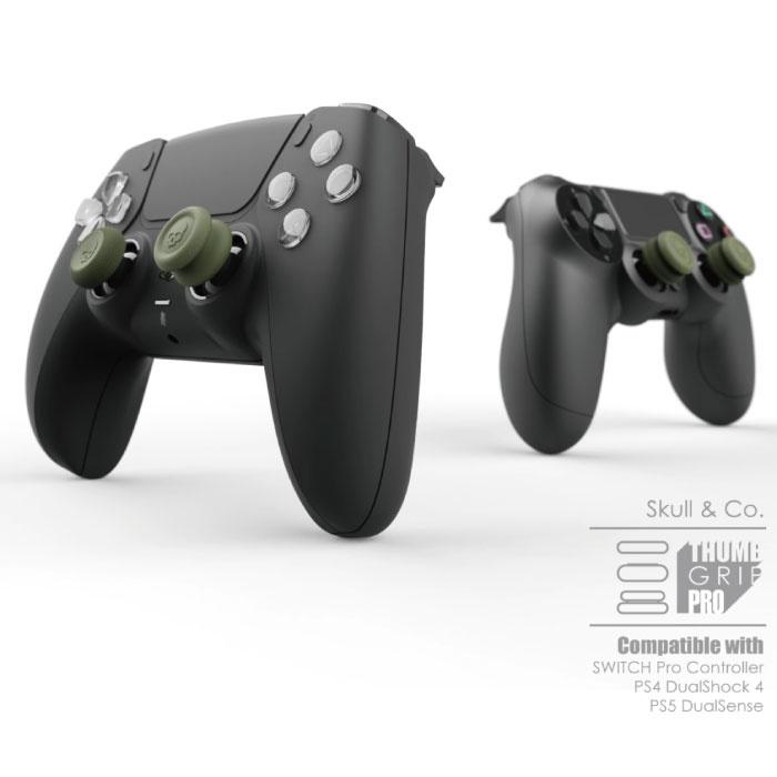 Skull & Co. 6 Thumb Grips voor PlayStation 4 en 5 - Antislip Controller Caps PS4/PS5 - Zwart
