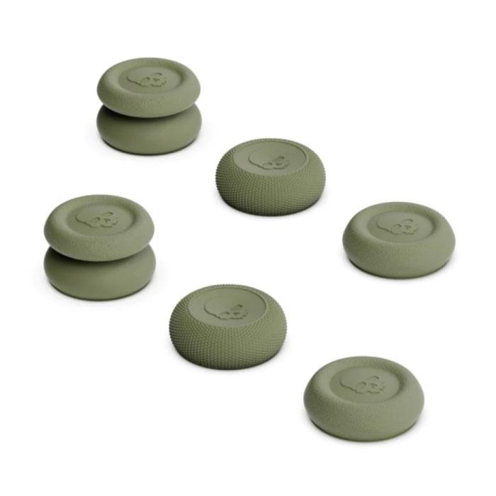 6 poignées pour PlayStation 4 et 5 - Capuchons de manette antidérapants PS4 / PS5 - Kaki