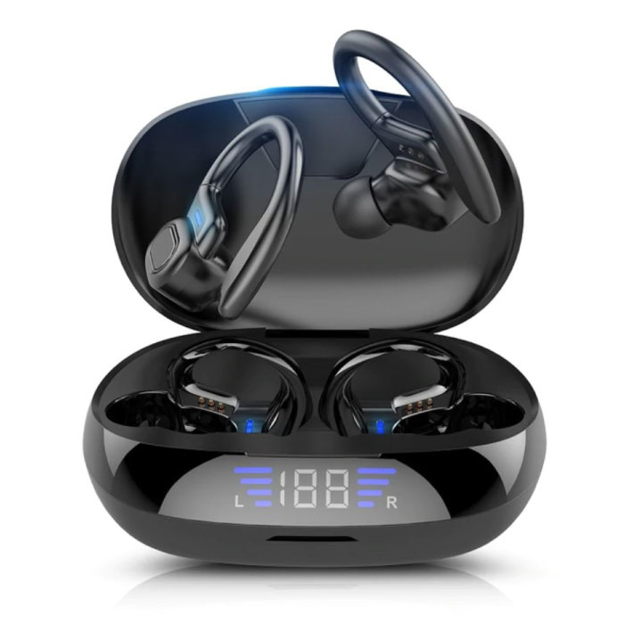 VV2 Draadloze Oortjes met Oorhaak Sport - Touch Control -  TWS Bluetooth 5.0 Wireless Buds Earphones Earbuds Oortelefoon Zwart