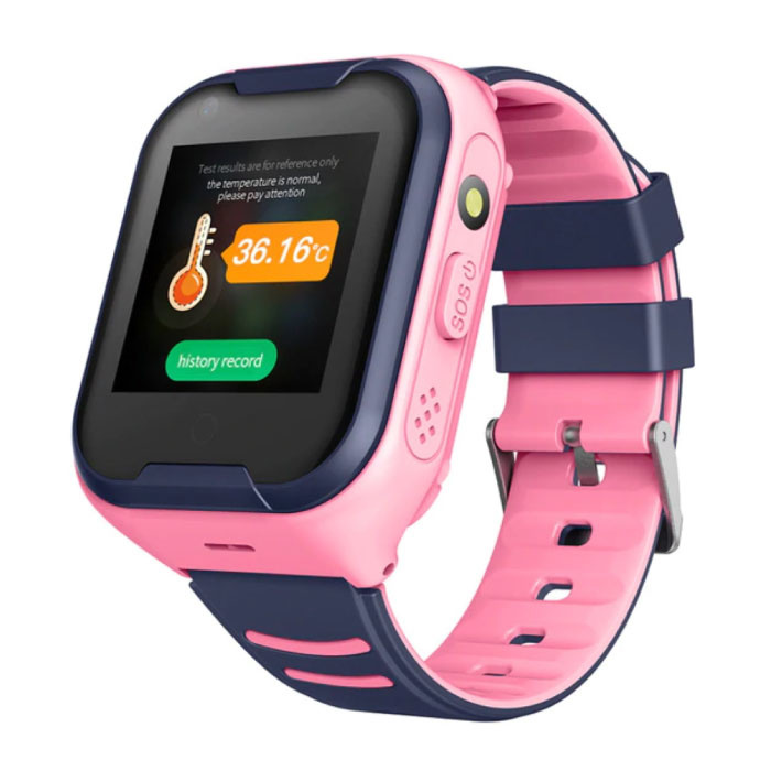 Smartwatch voor Kinderen met GPS Tracker Smartband Smartphone Horloge IPS iOS Android Roze