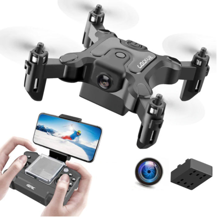 4D-V2 Mini RC Drone with Camera - Pocket Quadcopter Toy with Gyro Stabilization Black