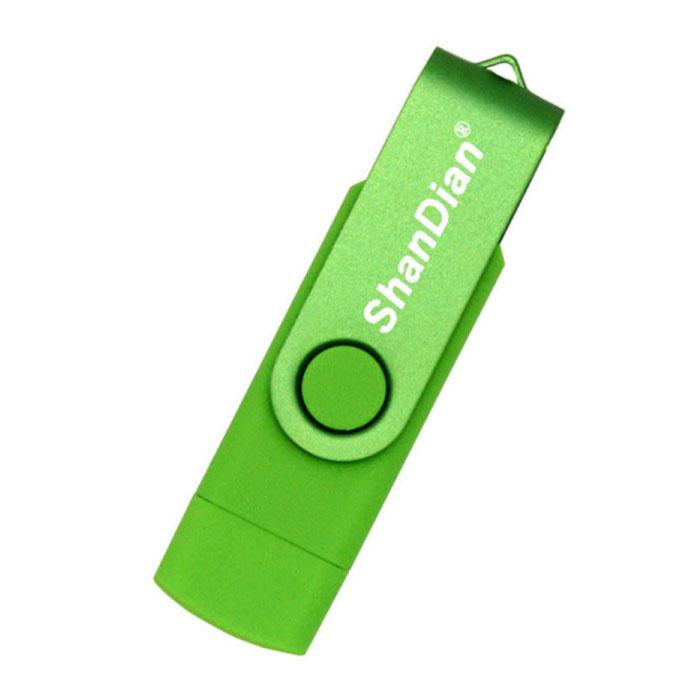 High Speed Flash Drive 16GB - USB and USB-C Stick Memory Card - Green