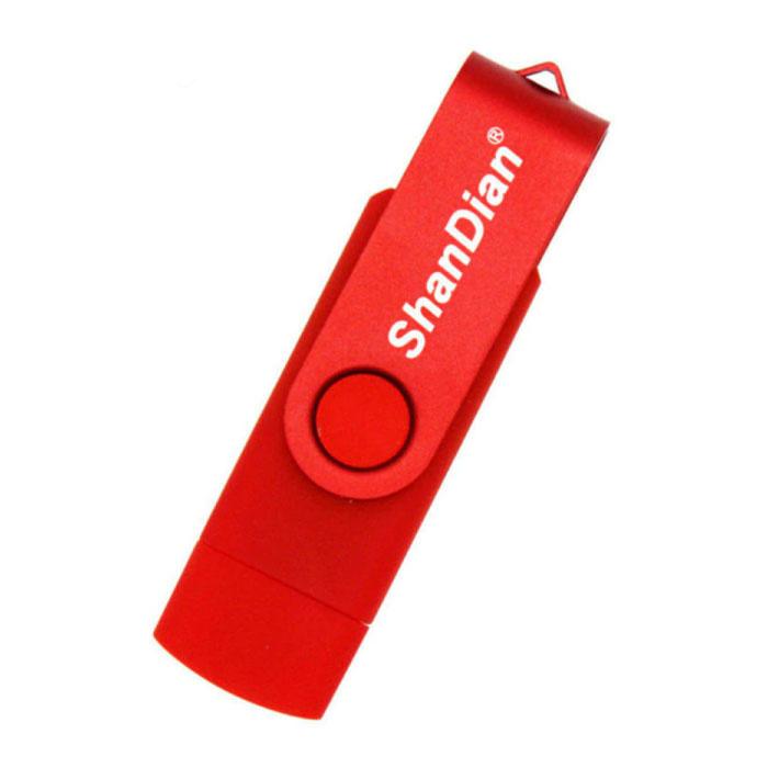 High Speed Flash Drive 16GB - USB en USB-C Stick Geheugen Kaart - Rood