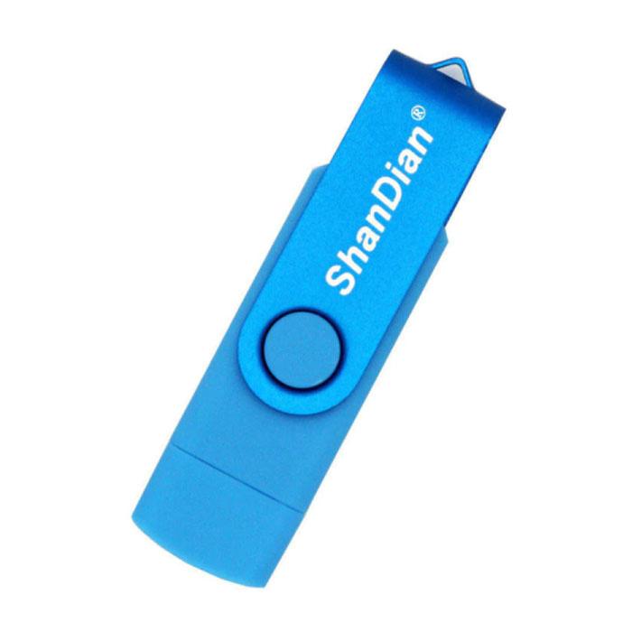 High Speed Flash Drive 8GB - USB and USB-C Stick Memory Card - Light Blue