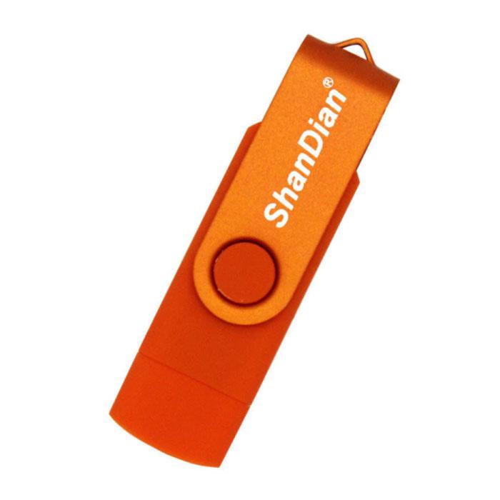 High Speed Flash Drive 8GB - USB and USB-C Stick Memory Card - Orange