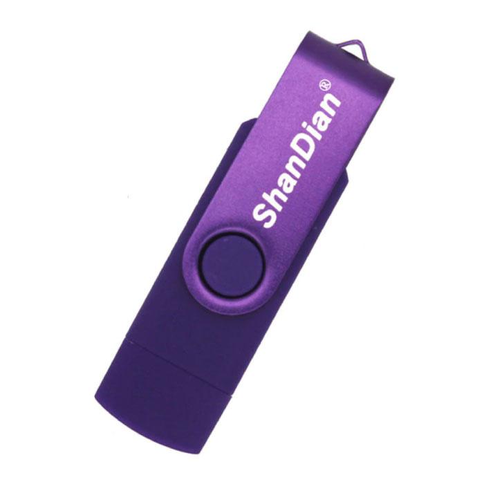High Speed Flash Drive 4GB - USB and USB-C Stick Memory Card - Purple