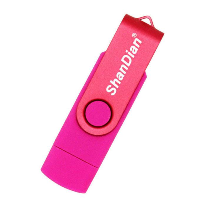 High Speed Flash Drive 8GB - USB and USB-C Stick Memory Card - Pink