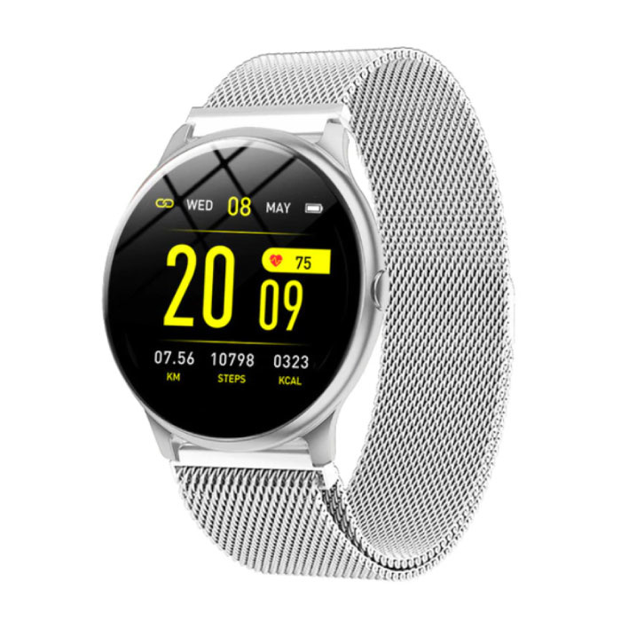 2020 Mode Sport Smartwatch Fitness Sport Aktivität Tracker Smartphone Uhr iOS Android - Silber