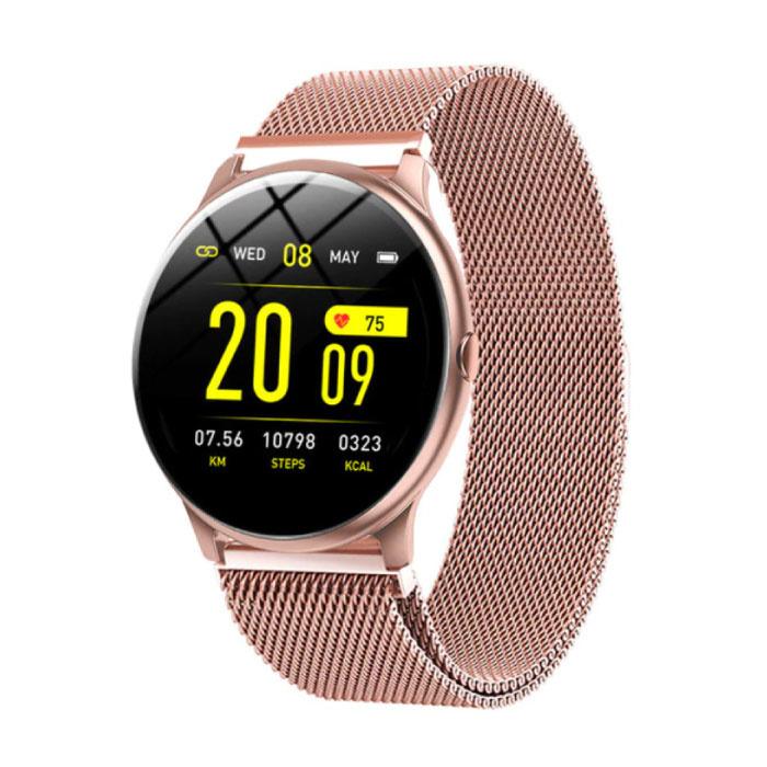2020 Mode Sport Smartwatch Fitness Sport Aktivität Tracker Smartphone Uhr iOS Android - Roségold