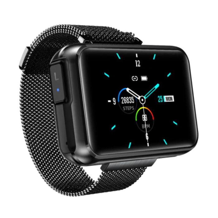 T91 Smartwatch Breed Display met Draadloze Oortjes - 1.4 Inch Scherm - Smartband Fitness Tracker Sport Activity Horloge iOS Android Zwart