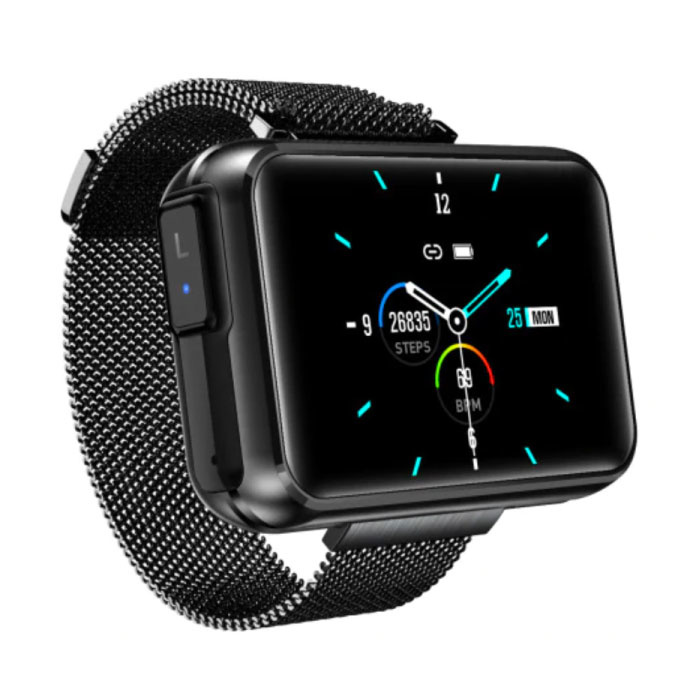 T91 Smartwatch Wide Display with Wireless Earpieces - 1.4 Inch Screen - Smartband Fitness Tracker Sport Activity Watch iOS Android Black
