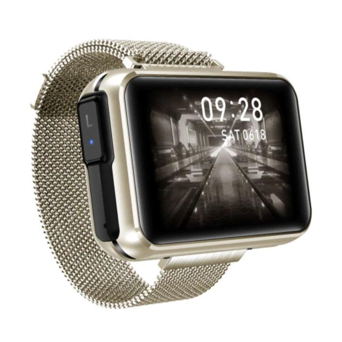 T91 Smartwatch Breed Display met Draadloze Oortjes - 1.4 Inch Scherm - Smartband Fitness Tracker Sport Activity Horloge iOS Android Goud
