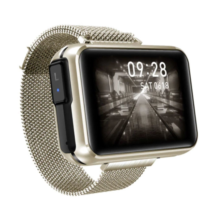 T91 Smartwatch Wide Display with Wireless Earpieces - 1.4 Inch Screen - Smartband Fitness Tracker Sport Activity Watch iOS Android Gold