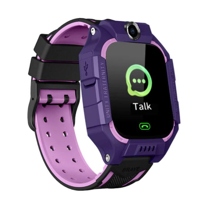 Q19 Smartwatch für Kinder mit GPS Tracker Smartband Smartphone Uhr IPS iOS Android Purple