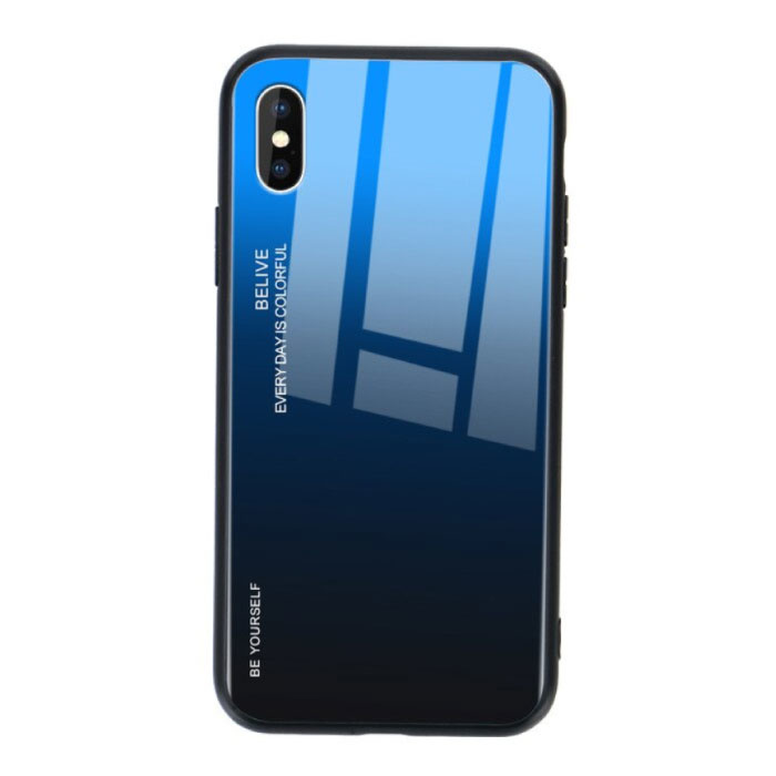 iPhone X Hoesje Gradient - TPU en 9H Glas - Shockproof Glossy Case Cover Cas TPU Blauw