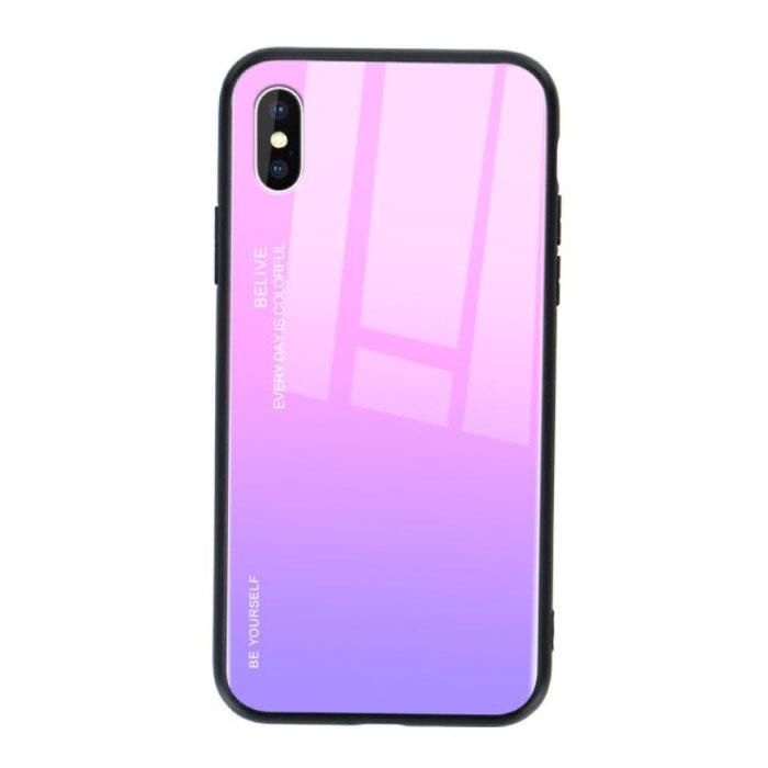 iPhone X Hoesje Gradient - TPU en 9H Glas - Shockproof Glossy Case Cover Cas TPU Roze
