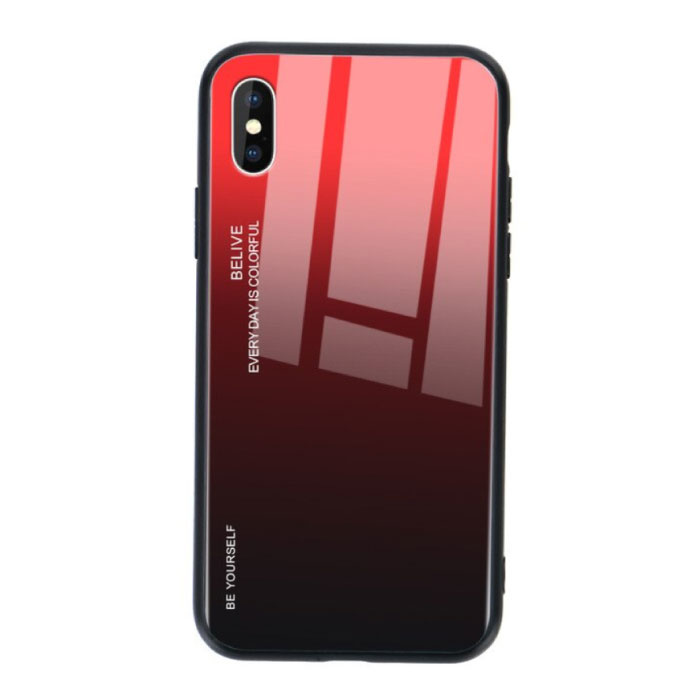 iPhone X Case Gradient - TPU and 9H Glass - Shockproof Glossy Case Cover Cas TPU Red