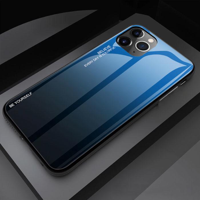 iPhone 11 Hoesje Gradient - TPU en 9H Glas - Shockproof Glossy Case Cover Cas TPU Blauw