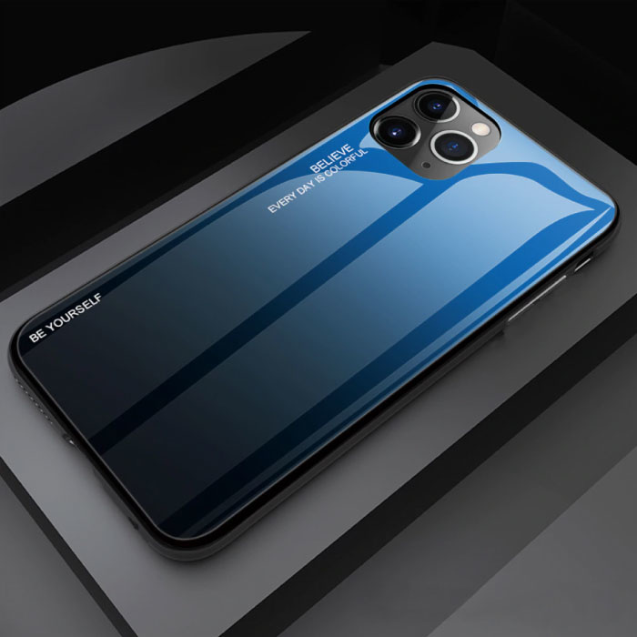iPhone 12 Pro Max Hoesje Gradient - TPU en 9H Glas - Shockproof Glossy Case Cover Cas TPU Blauw