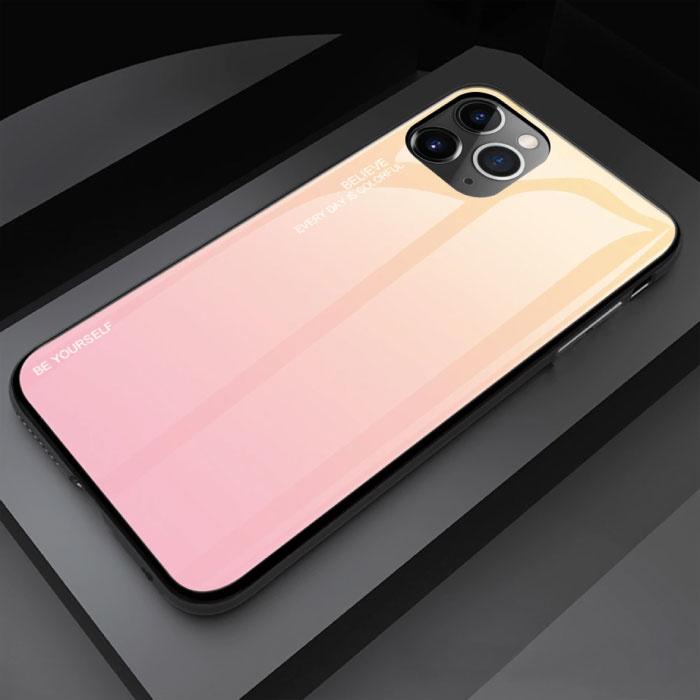 iPhone 12 Hoesje Gradient - TPU en 9H Glas - Shockproof Glossy Case Cover Cas TPU Geel